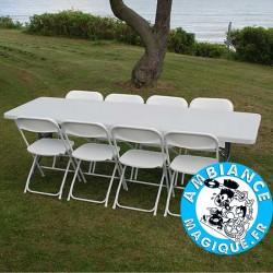 TABLE RETANGULAIRE GRIS CLAIR