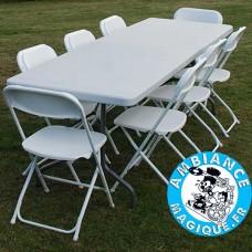 TABLE PLIANTE 182X74X74CM, GRIS CLAIR